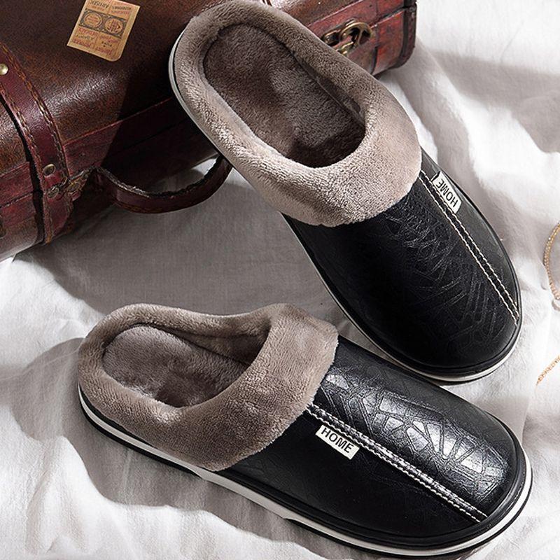 pantoufles hommes d'hiver Antiderapant Chaussures Indoor pour les hommes en cuir grande taille 49 chaussure Maison chaud étanche en mousse à mémoire Slipper S20331