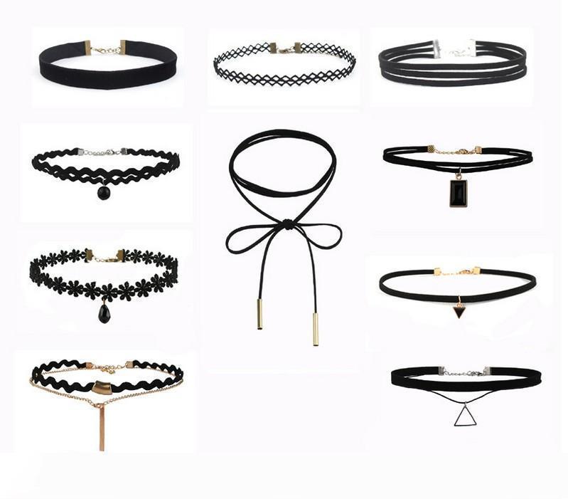 Piel nuevo tatuaje gótica Gargantilla collares conjunto de la Mujer 10 PCS babero de encaje Conjunto Negro collar de la joyería collar
