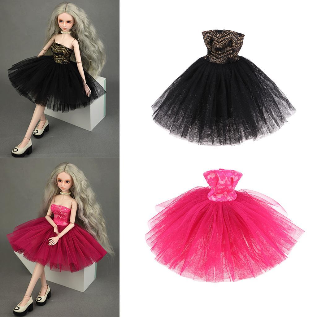 2 UNIDS Ropa de Moda Tubo Top Corto Vestido de Novia Vestido de Gasa para 1/4 BJD Muñeca Accesorios Chica Regalos