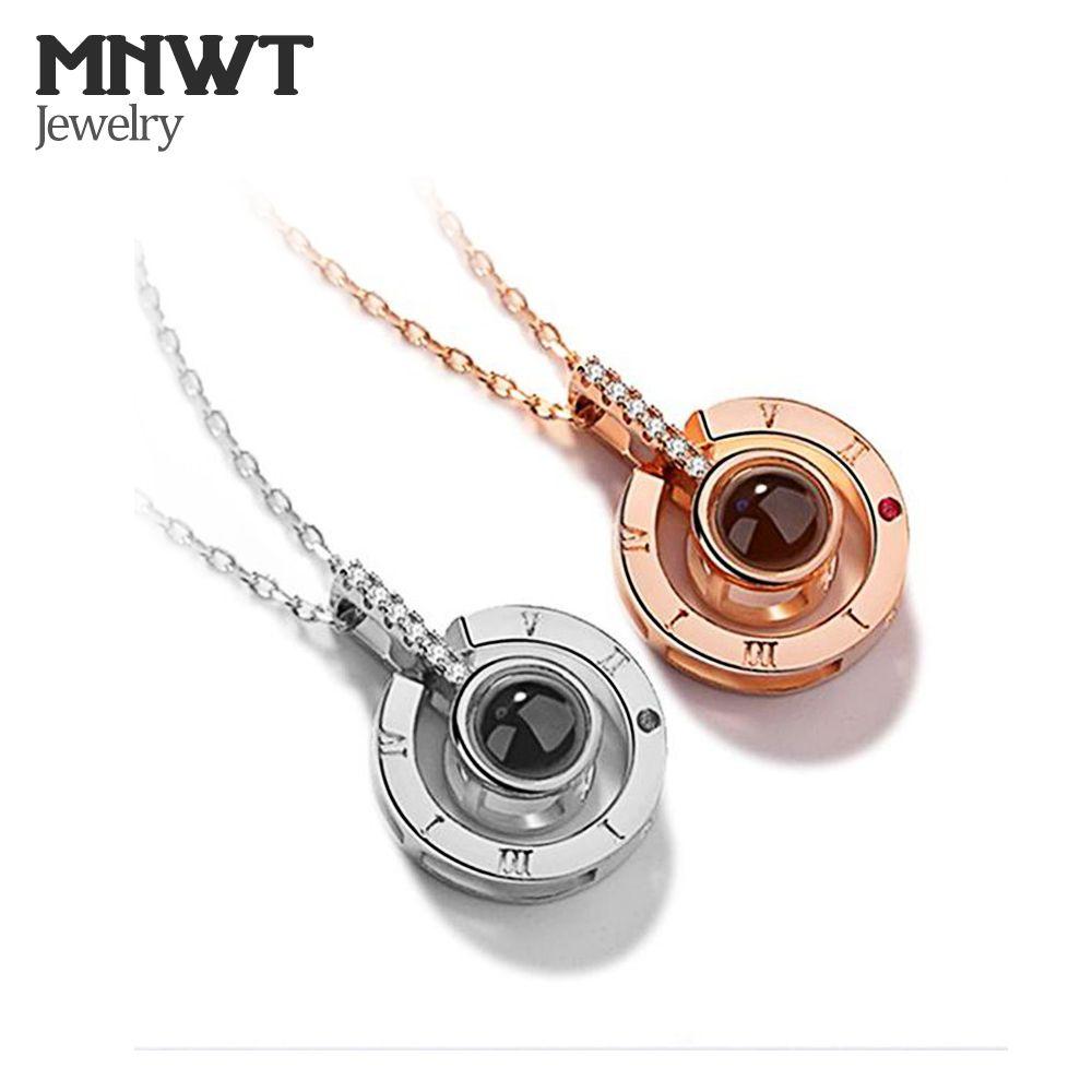 MNWT Love Memory Wedding Necklace Jewelry Rose GoldSilver 100 لغة أنا أحبك قلادة الإسقاط قلادة