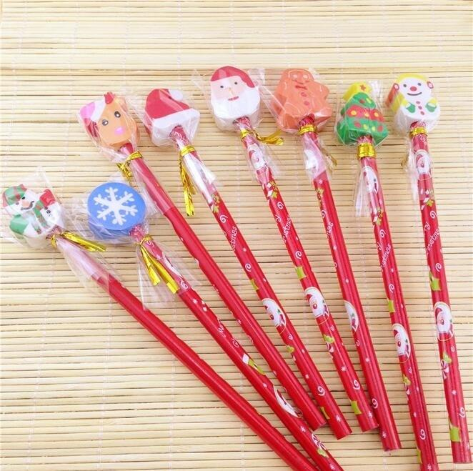 30pcs/lot New Sweet Red Rod Christmas Pencil Ten Design To Choose Colored Pencils For Children Drawing School Supplies T200107
