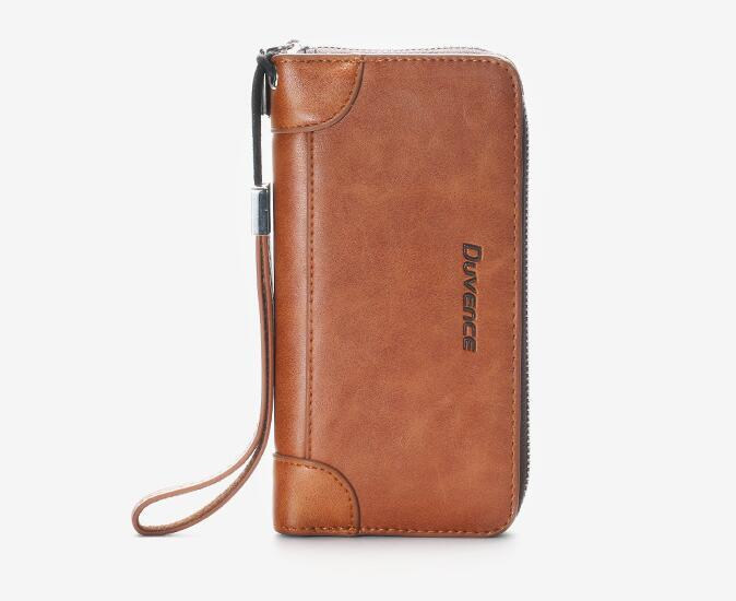 Wallet Mode hommes PU grande capacité Téléphone Passeport Zipper Portefeuille long