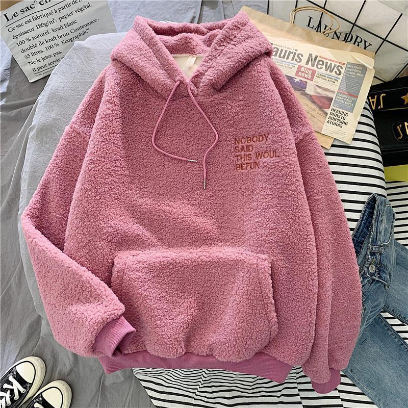 HOOLO Autumn Winter Sweet Hooded Loose letter Pocket Hoodies Womens Fleece Flannel Pullover Female Sweatshirt