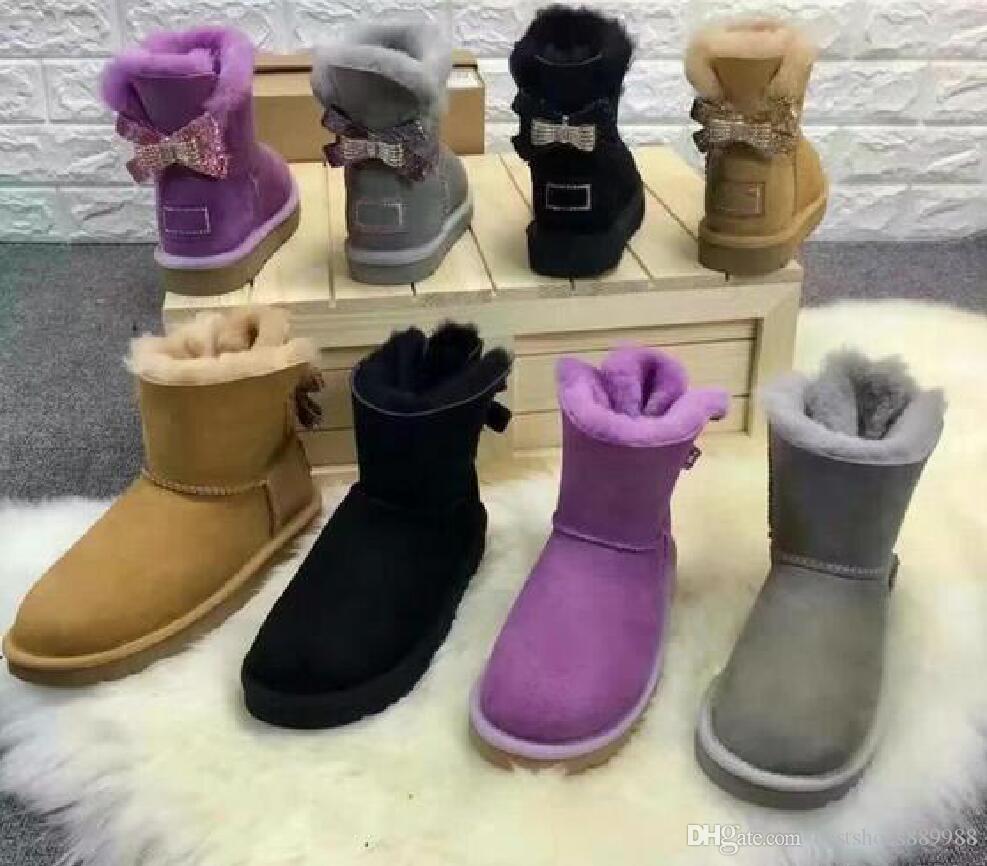 2020 arco del Rhinestone de Australia Mujer clásico de invierno la nieve Botas de cuero genuino de la vaca zapatos de mujer botas de nieve de alta calidad US4-13