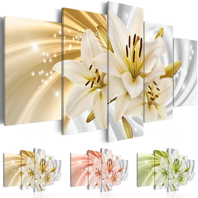 Amosi Art 5 Pieces Canvas Wall Art Lily Flower Picture Print Modern Home Bedroom Decor Painting Spray Painting Unframed