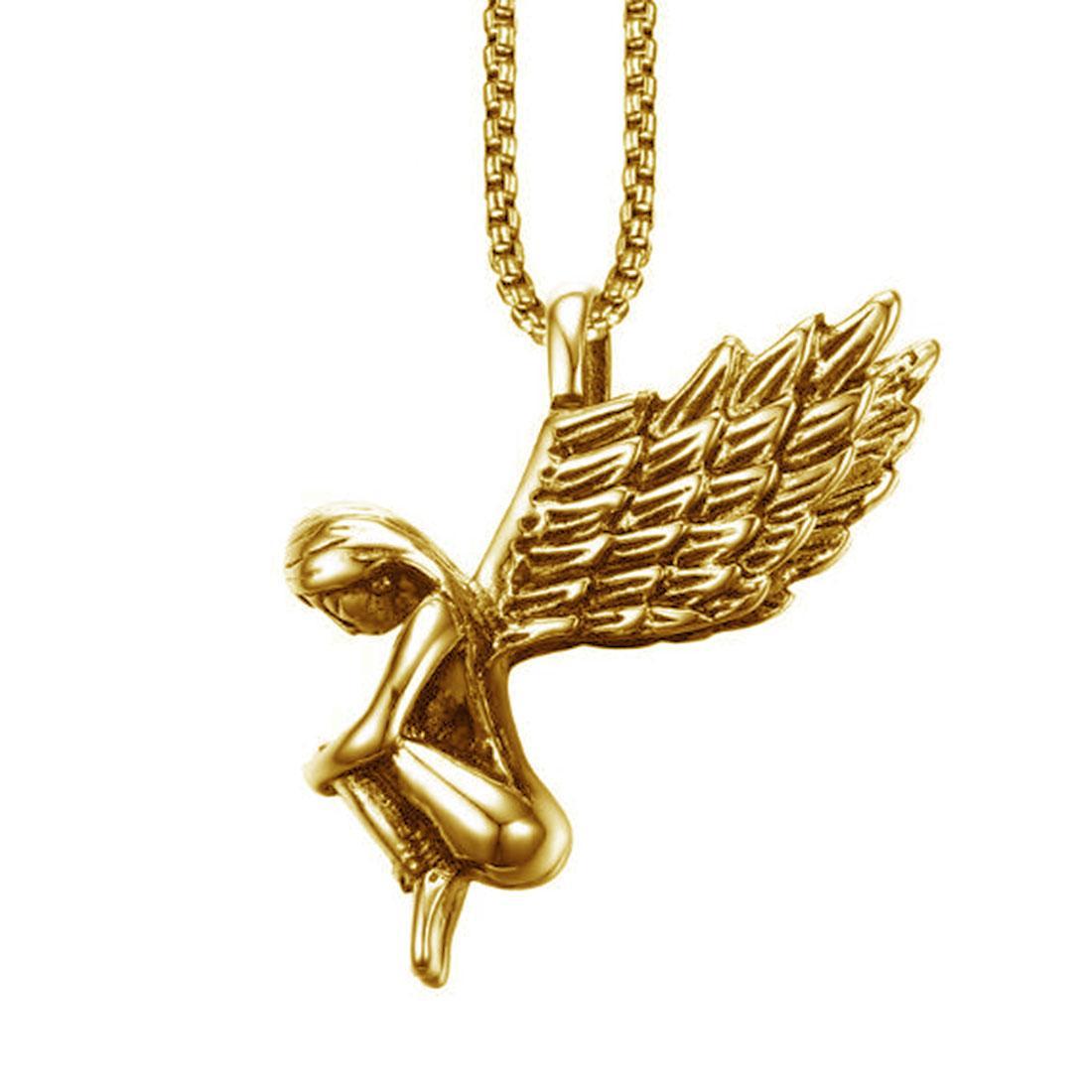 High Polished Womens Angle Wing Chirurgenstahl Anhänger Halskette Geschenk für Mädchen 18 Karat Gold überzogen