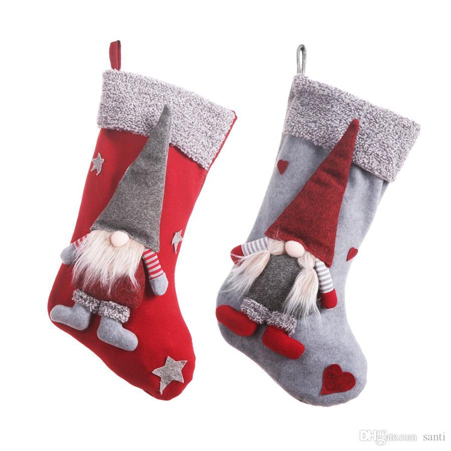 حامل عيد الميلاد جوارب مع 3D السويدية غنوم دمية شجرة عيد الميلاد الشنق قلادة مدفأة الحلي عطلة زينة JK1910