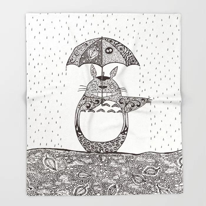 Totoro Blanket Cute Design Happy Totoro Fleece Blankets and Throw Blanket for Beds Christmas Decorations for Home 150X200