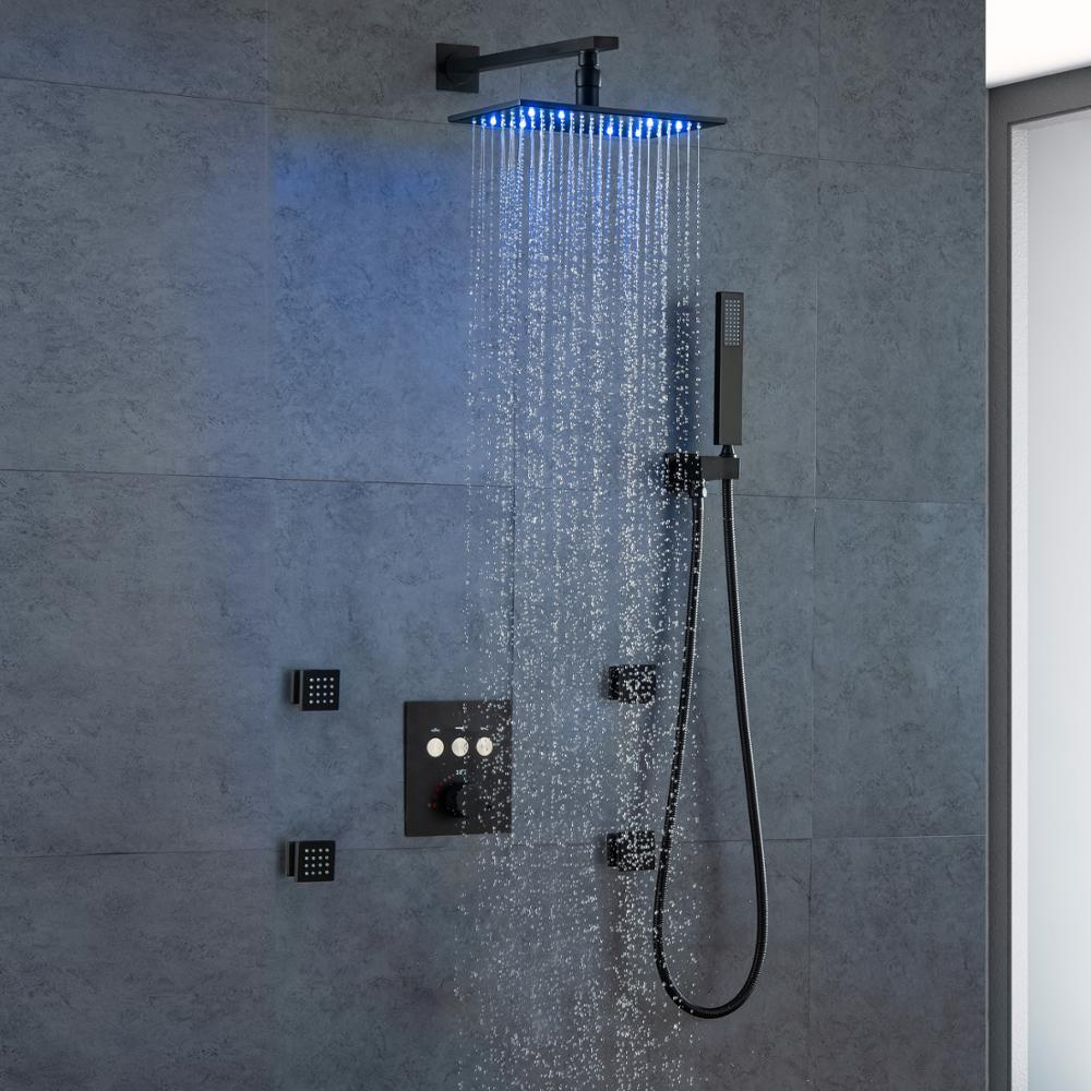 DULABRAHE Thermostatic Bathroom Shower Faucet Set Bathtub Mixer Taps Black Conceal Rain Shower System Wall Mount LED Shower Head T200616