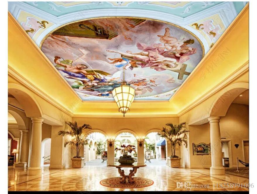 Personnalisé 3D grand zénith peinture murale papier peint caractère européen ange peinture à l'huile salon hôtel zénith plafond fond peinture murale
