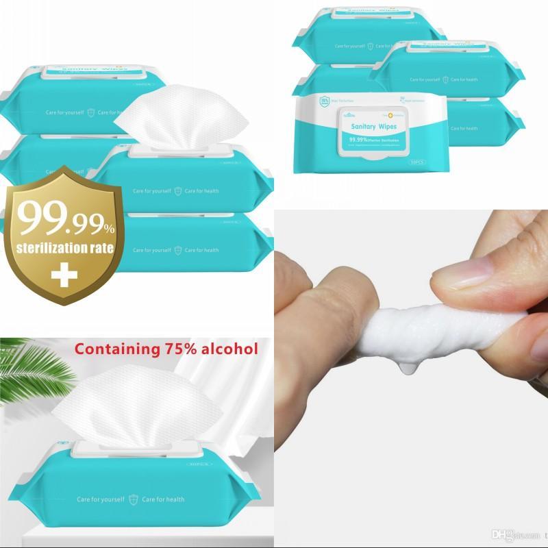 DHL de envío! 75% de alcohol Toallitas 180 * 150 mm toallita húmeda portátiles 50pcs desinfección Dipe / paquete Limpiador Antiséptico