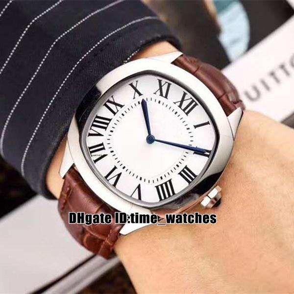 Nuovo WSNM0011 WGNM0007 Automatic Watch Mens Argento cassa in acciaio quadrante bianco di alta qualità orologi commerciali cinturino in pelle marrone economici Gents
