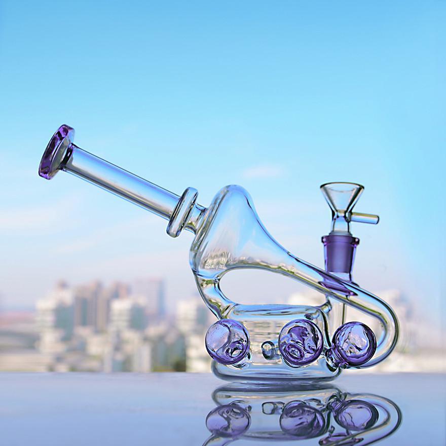 5.5 인치 자주색 봉수 물 담뱃대 Heady Glass Dab rigs 흡연 파이프 재활용 recycler 독특한 봉 담배 액세서리 14mm 그릇