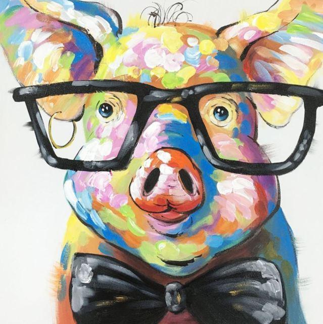 -y-03066 Cute Animal Hahn Esel Schwein Top handgemaltes Kunsthandwerk Kunst-Ölgemälde HD Druck-Kunst Öl auf Leinwand Wandbilder Gemälde