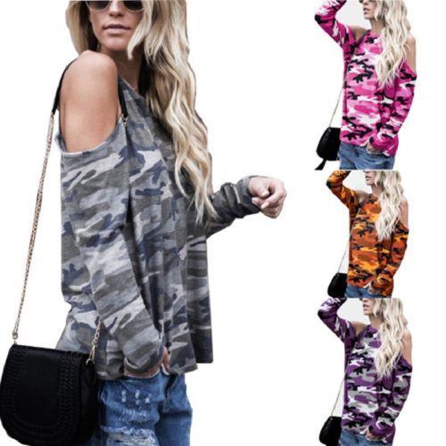 2017 autunno donne slacciano spalle scoperte dal O-Collo camuffamento militare Tee signore cotone casuale Attività selvaggio Tops T-shirt