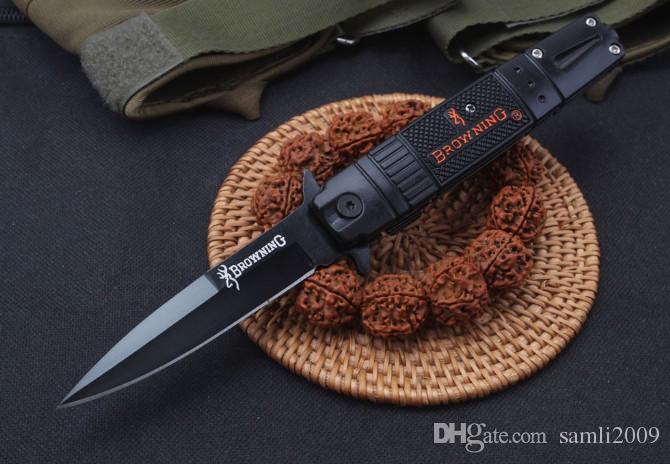 2019 Cuchillo para dorar Cuchillos Cuchillo auxiliar con resorte abierto lateral 5CR13MOV 58HRC Mango + aluminio Mango EDC Cuchillo de bolsillo plegable Equipo de supervivencia