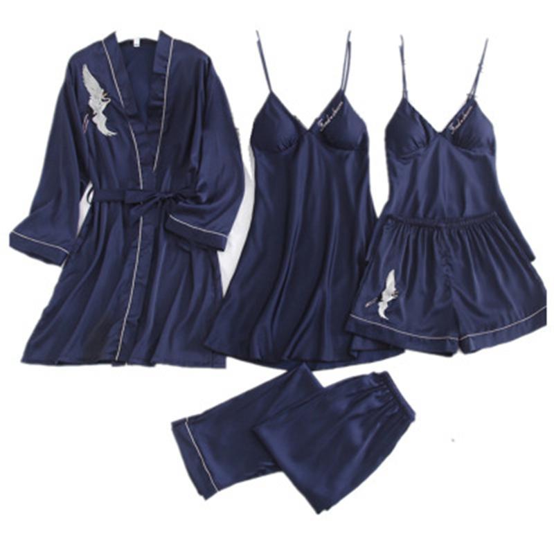 femminile Daeyard Pigiama 5 Pezzi raso Pajama Set seta da notte casa Wear ricamo sonno Lounge sexy del merletto pigiami biancheria da notte