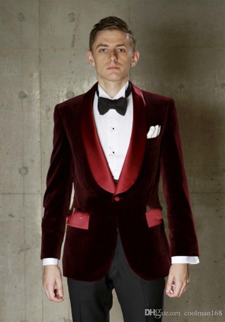 Velours Bordeaux Tuxedos de mariage pour hommes Satin Châle Lapel Groom Groomsmen Tuxedos Homme Blazers Veste Excellente combinaison 2 pièces (veste + pantalon + cravate) 6
