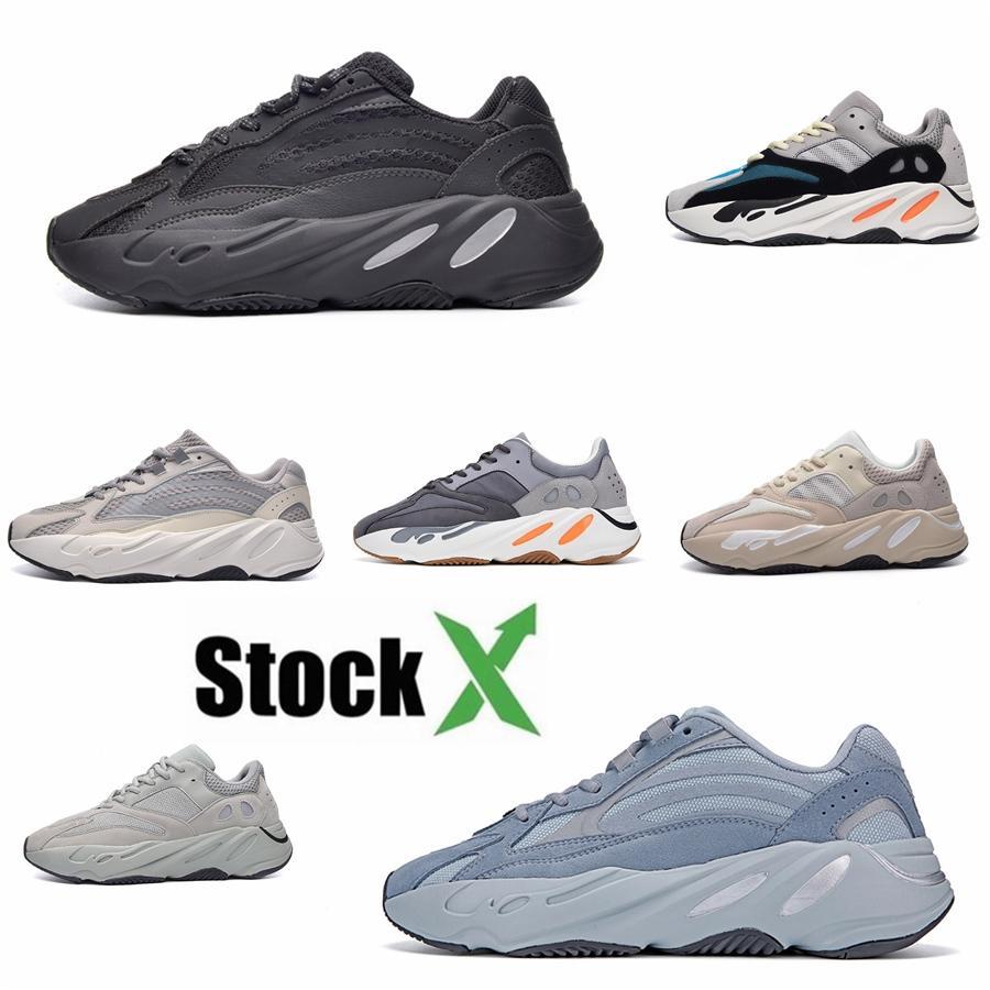 Kanye West 700 V2 Больница Синий Мужчины Женщины кроссовки Teal Светоотражающие Магнит Полезность черный Инерционные Статические мужские Тренажёры Спорт Sn # DSK924