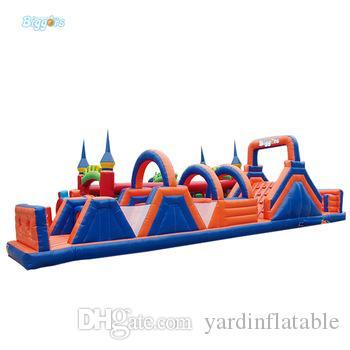 Curso de obstáculo inflável exterior da fábrica chinesa que salta o curso engraçado engraçado do obstáculo do castelo do castelo de salto para o jogo de diversão