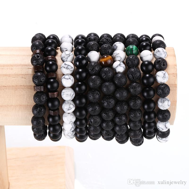 Faire la main Lava Charm main 8mm Pierre naturelle perles Bracelets pour la mode Jewlery Xulin FJDA- 27