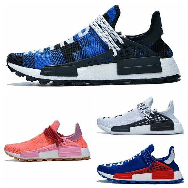 PW Human Race Hu Trail X Men Running Shoes Pharrell Williams Nerd Black White Cream Tie Dye Sun Glow Womens Trainers Sports Sneakers