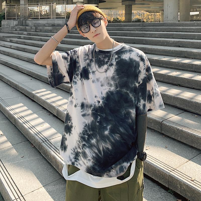Camiseta impresa de los hombres nueva primavera y el verano nueva camiseta del teñido de cuello redondo con capucha camiseta coreana masculina más el tamaño de Grasa La mitad de manga