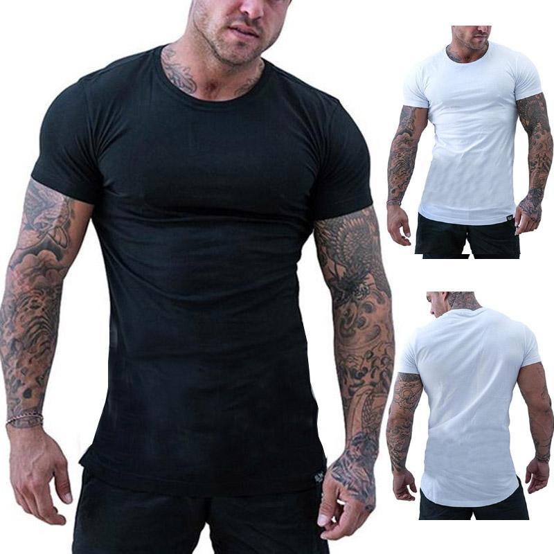 T-Shirt Männer 2019 Freizeit Sommer Oansatz Kurzarm Baumwolle Stretch Lycra enge Tees Männer schwarz weiß schlanke Camisetas Männer T-Shirt
