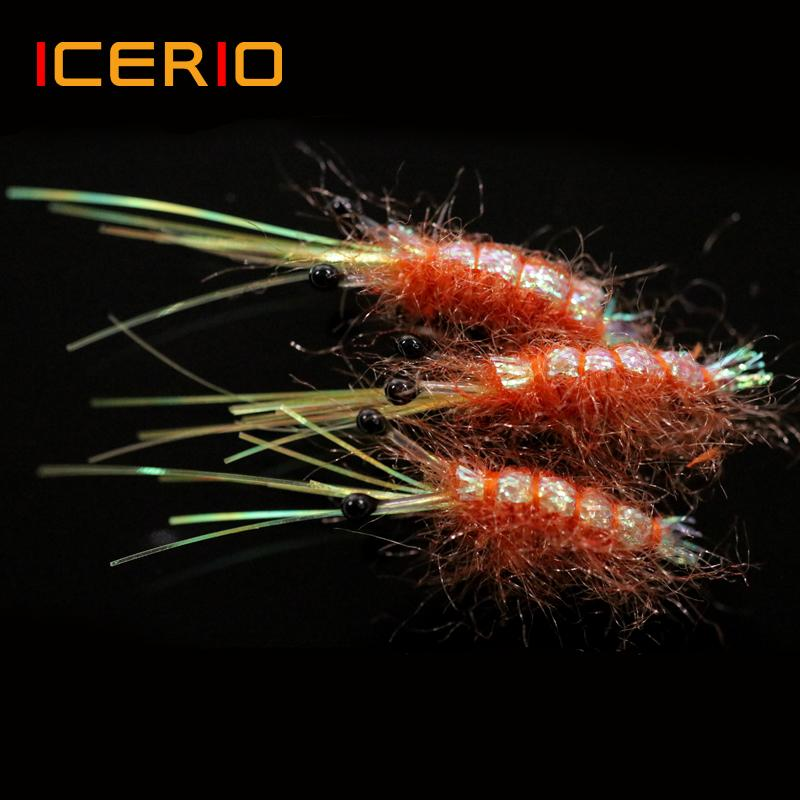 Sports & Entertainment ICERIO 5PCS #6 Sinking Shrimp Saltwater Fly Artificial Sea Trout Lure Fishing Lures