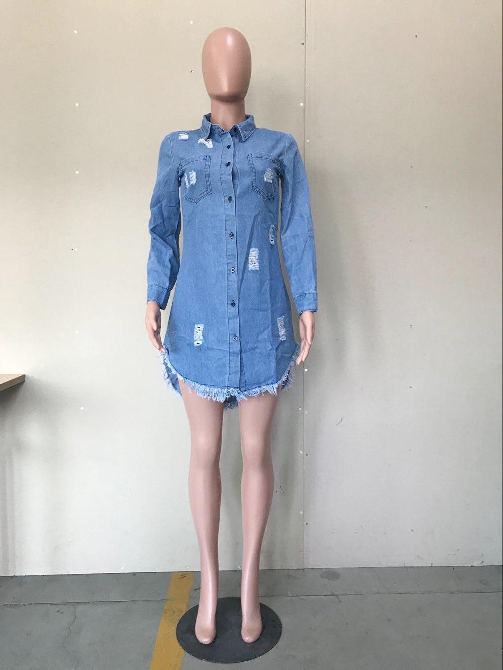 Fashion-Women Hiphop Denim Blue Jean Shirt Dress Spring Autumn Ripped Jeans Tassel Designer Dresses