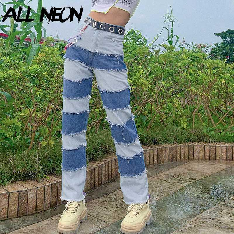 girl Patching Sew Stitch Jeans for Women Hip Hop Hight Waist Denim Loose Long Pants Fashion Chic Outfit Streetwear