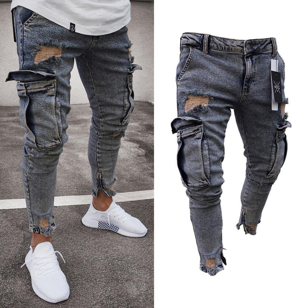 Il nuovo modo jeans lavati Mens Ripped Skinny Jeans Destroyed Logoro Slim Fit Denim Pocket Pencil Pant Size S-2XL