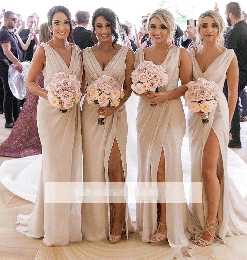여름 웨딩 시폰 아이보리 신부 들러리 드레스 섹시한 프론트 스플릿 V 넥 하녀 명예 가운 BM0203