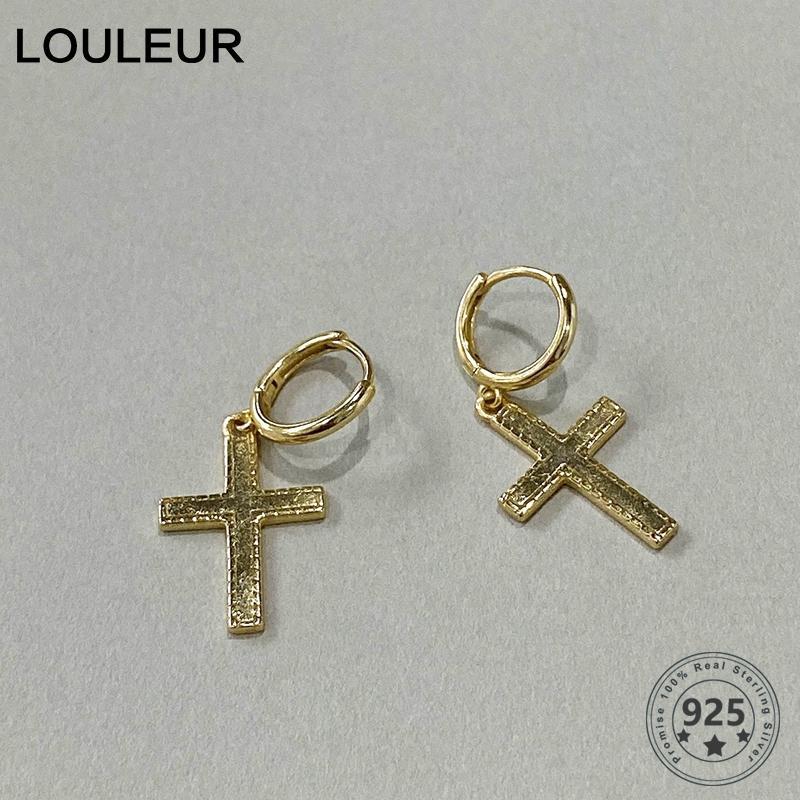 LouLeur 925 Silver Cross orecchini a cerchio elegante dell'oro dell'annata orecchini per le donne Silver Jewelry Wedding Gifts Party Girl