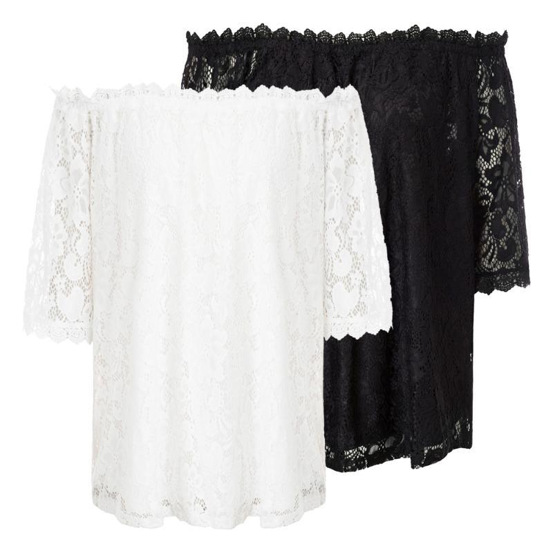 Kate Kasin Off The Shoulder Lace Tops 3/4 Sleeve Loose Fit Lace Blouses Solid White/Black Womens Tops And Blouses Shirt Top