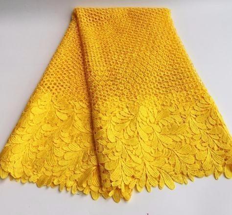 Alta Qualidade Africano Solúvel Em Água Amarelo Guipure Vestido de Noiva Africano Tecido de Renda SML7419-12