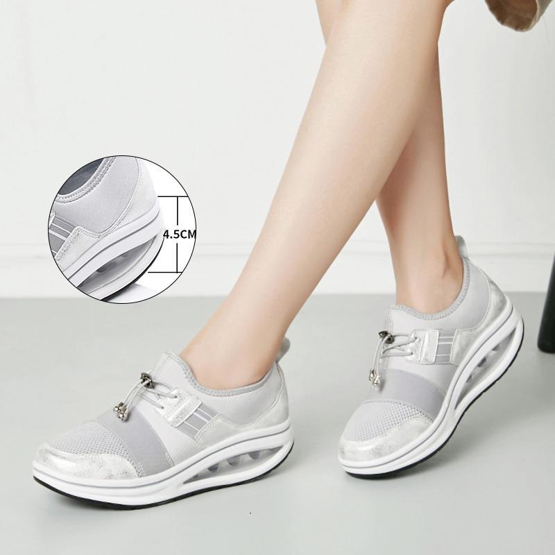 4,5 cm Kama Sneakers Mesh sıkılaştırma Artırma Kadınlar Platformu Ayakkabı Yükseklik Konfor Gümüş Atlama Ayakkabı On Lady Slip, Ayakkabı