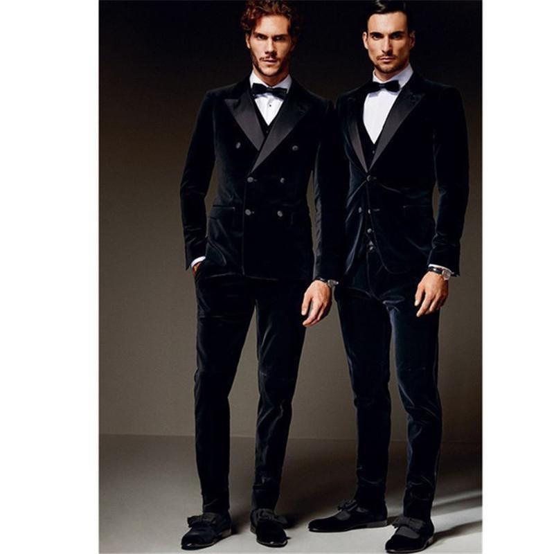 Mens Suits (Jacket+Pants+vest) Fashionable Double Breasted Bespoke Mens Velvet Wedding Groom Tuxedo Groomsman Best Man terno