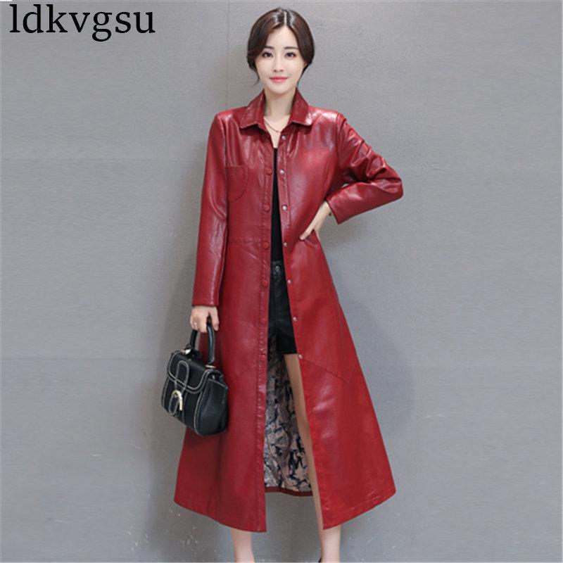 2018 Moda X-Long monopetto autunno giacca in pelle da donna inverno Plus Size Faux Leather Coat giacca a vento femminile 5XL V181