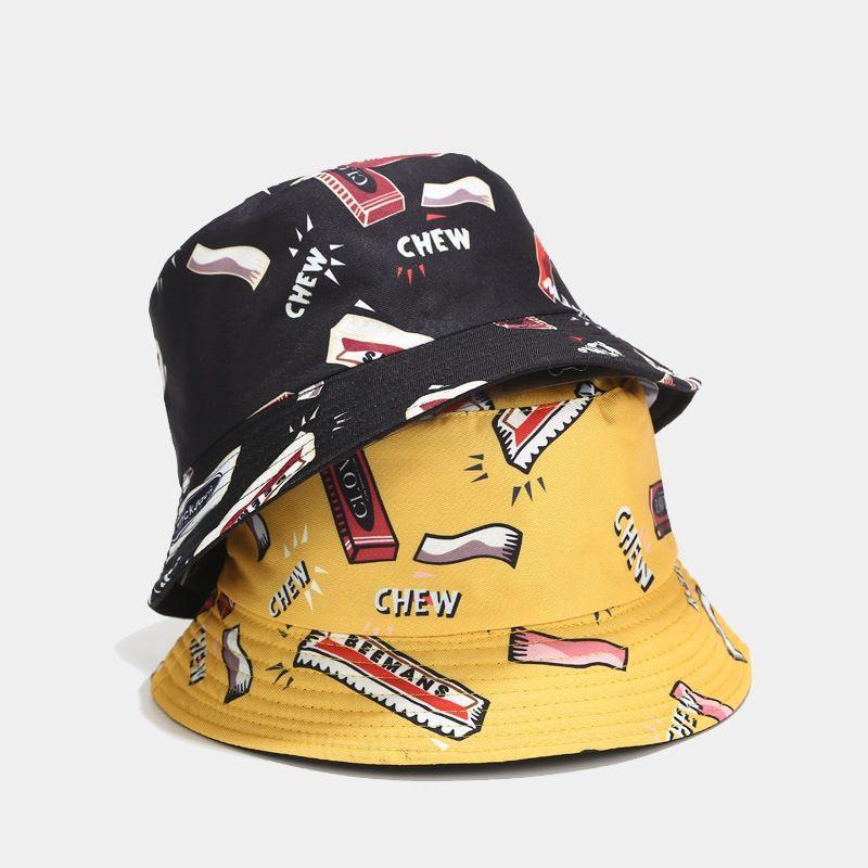 AUAU-japanischen Harajuku Wind Gum Printed Fischer Kappen für Männer und Frauen Hip-Hop Double-Sided-Becken Hut im Freien Sonnenhut Bucket H