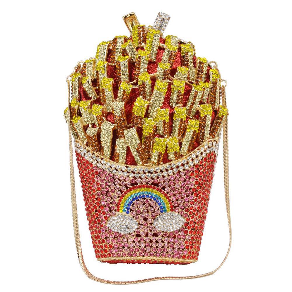 Newest Designer French Fries Chips Clutch Women Crystal Evening Minaudiere Bag Diamond Wedding Handbag Bridal Purse A27 Y190626