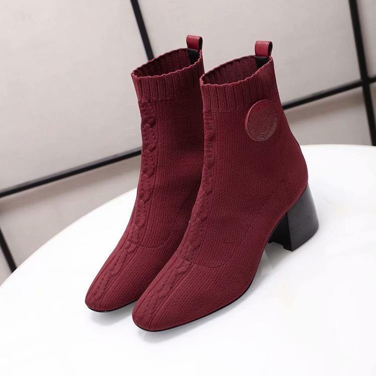 2019 inverno nova fina pernas elástica botas curtas do salto alto das mulheres de salto grosso meias de tricô botas tudo em um tubo curto