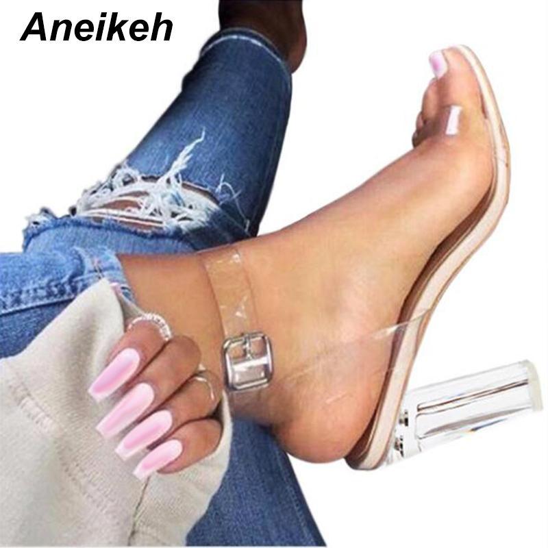 Aneikeh 2020 PVC-Sandalen Kristall öffnen Toed-Absatz-Frauen Absatz-Sandalen Hausschuhe Pumps 11CM Big Size 41 42 CX200608