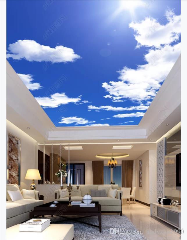 Custom 3D large silk ceiling mural photo wallpaper HD beautiful blue sky white clouds sunshine living room hotel ceiling zenith mural