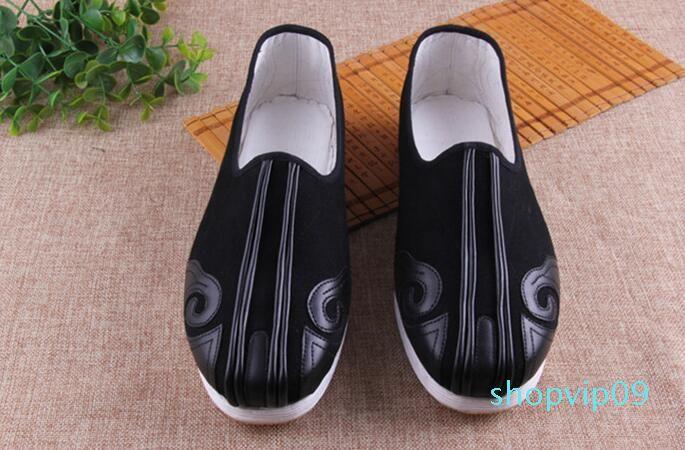Hot Vente- Chaussures plates vieux Pékin Chaussures Kungfu chinois Canves Chaussures de bonne qualité et confortable pour l'été