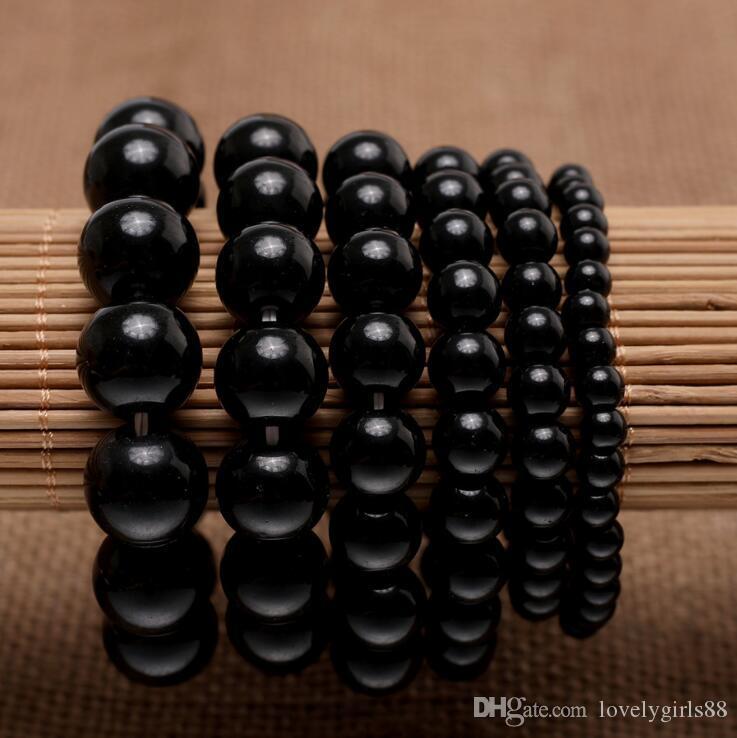 6-16mm Black Glass Beads Pulseras Imitación Obsidian Hecho A Mano Hecho Cuero Brazalete Pulsera Energía Pulsera Elástica Mano Cadena Mujer Joyería Declaración