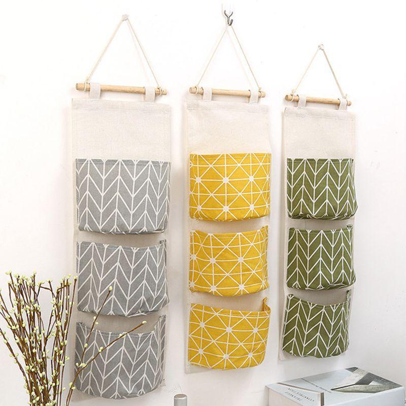 Cotton Hanging Organizer Tasche moda panno Storage Bag Porta Borsa di stoccaggio parete di attaccatura tasca panno organizer