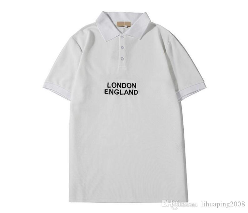 새로운 디자이너 남성 폴로 고급 문자 영국 스타일의 T 셔츠 여름 반소매 T 셔츠 커플 모델은 땀 흡수 통기성 상단의 S-2XL