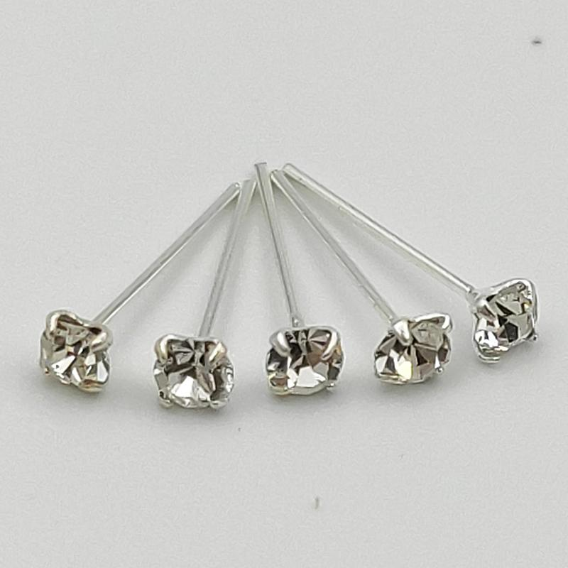 925 sterling silver 2.5 mm clear Crystal nose stud big size nose piercing jewelry 36pcs /pack