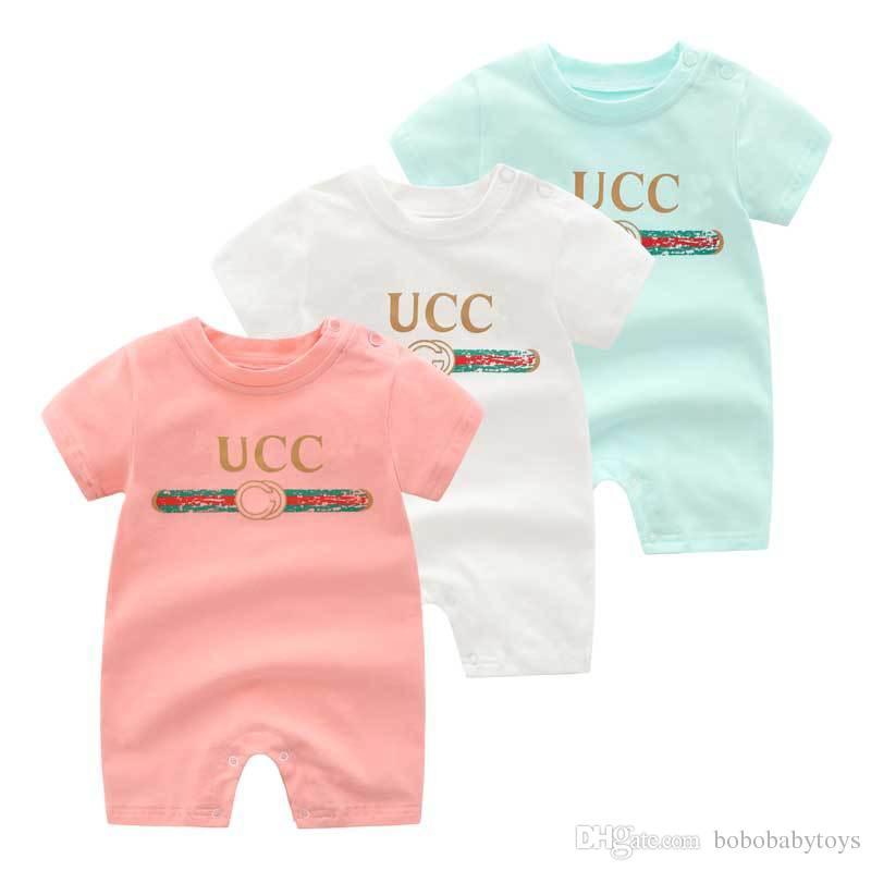 3 farben kinder designer kleidung mädchen jungen kurzarm strampler 100% baumwolle kinderkleidung baby säuglingsmädchen junge kleidung